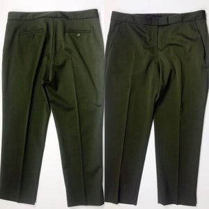 THEORY Ibbey Chateau Cropped Army Green Wool Pant
